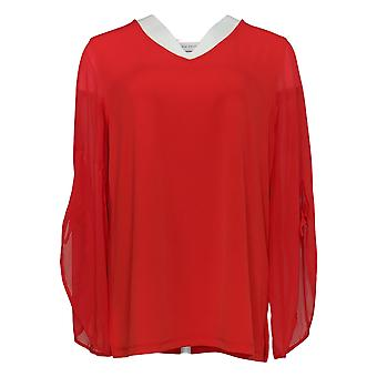 Susan Graver Women's Top Liquid Knit With Chiffon Sleeves Red A350142