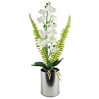 Orquídea artificial blanca de 48cm en plantador metálico