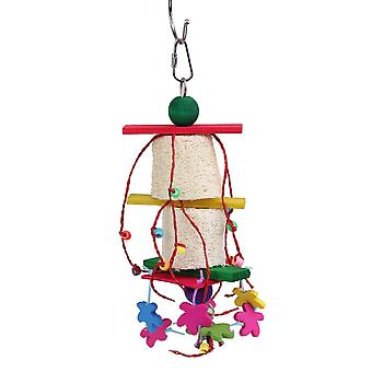 Corlorful Hanging Pet Toy Bird Wood Hanging Swing Wood Parrot Toy
