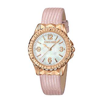 Roberto Cavalli Women's White Mother of Pearl Dial Pink Leather Watch