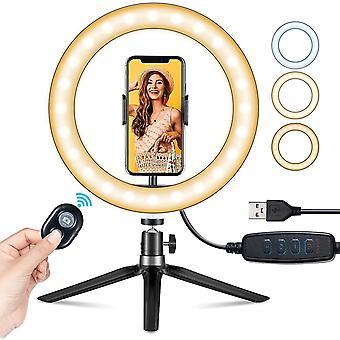 "10"" LED Ring Light with Stand & Phone Holder, Selfie Light"
