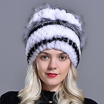 Bont Hutten, Rabbit Rex Beanies Warm, Gebreide Floral Natural Fur Fox, Modieus