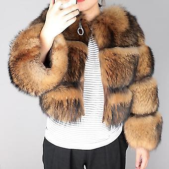 معطف المرأة الشتاء، الفراء فوكس الطبيعية، سترة الراكون، مفر مع الأكمام