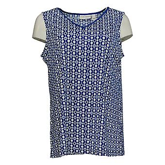 Susan Graver Women's Top Printed Sleeveless TuniekBlauwe A377180