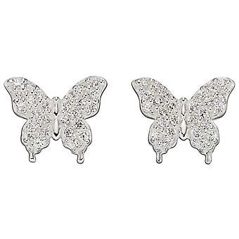 Elementos plata mariposa brillantes pendientes - plata