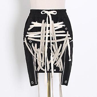 Lace-up Bowknot Elastic High Waist Streetwear Skirts