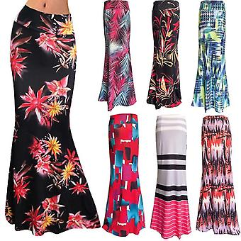 High-waist Fishtail Max, Summer Printed Long Skirt