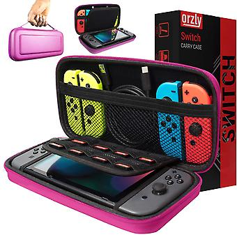 Orzly carry case compatible with nintendo switch - pink protective hard portable travel carry case s