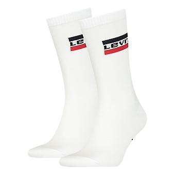 Levi's قص الملابس الرياضية العادية شعار 2 حزمة الجوارب - أبيض