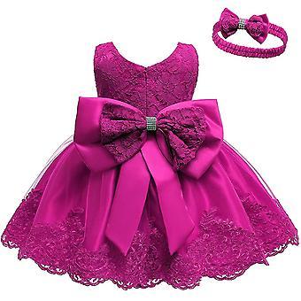 Robes de soirée Bowknot Tutu Pour bébés filles avec couvre-chefs Rose Red