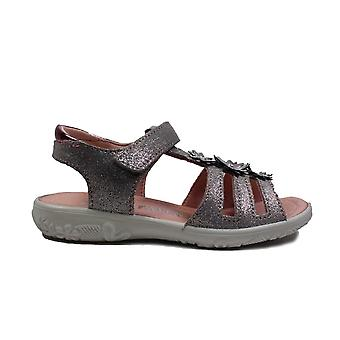 Ricosta Cleo 6422800-453 Grey Leather Girls Rip Tape Sandals