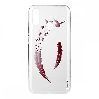Coque Pour Huawei P20 Lite En Silicone Souple, Plumes Et Oiseaux Bordeau