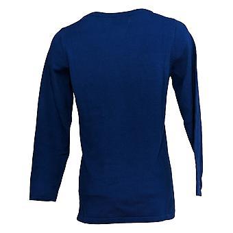 Quacker Factory Women's Sweater Holiday Motif Sequin Blue A386992
