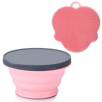 Silicone collapsible portable bowl expandable with lid and dish sponge for travel camping hiking