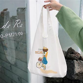 Chic Illustration Design Printing Canvas Bag, Student Personality Environmental