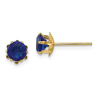 14k Polished Post Earrings 5mm Synthetic Sapphire (Sep) Earrings Measures 5x5mm Jewelry Gifts for Women
