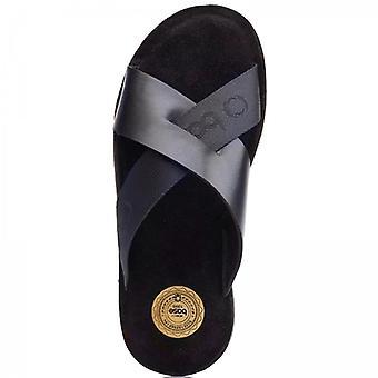 Base London Miso Mens Leather Mule Sandals Navy