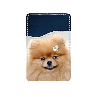 Dog Pomeranian Adhesive Card Holder For Mobile Phone