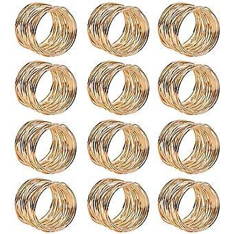 FengChun 12pcs Serviettenringe Gold Metallmaschen Serviettenringe Set 4,2 * 3.6cm Serviettenhalter