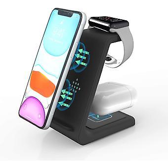 Bezdrôtová nabíjačka 3 v 1, nabíjacia podložka Qi 10W pre hodinky Apple Watch Series 6/5/4/3/2, AirPods, iPhone Se 2020/11 Pro Max / XS Max / XR / X / 8 Plus / Samsung / Huawei / Xiaomi (čierna)