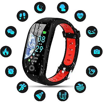 Smart Watch IP68 wasserdicht smart Armband bunten Bildschirm Smartwatch mit Cardio Schrittzähler Schlaf Alarm Benachrichtigungen für iPhone Huawei Samsung Xiaomi Sony-Rot