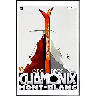 JUNIQE Print -  france1 - Ski & Snowboard Poster in Braun & Orange