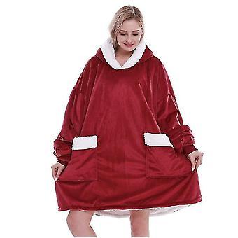 Naisten ylis kokoinen pehmeä lämmin mukava puettava huppari jättitaskulla (punainen)