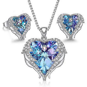 Bijuterii Set Ocean Heart Angel Wings Swarovski Elemente crystal femei colier ureche știfturi pentru daily
