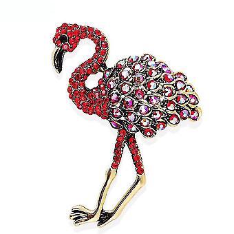 Damen Brosche rot Flamingo Strauß Corsage Emaille bemalt Legierung Brosche Pin