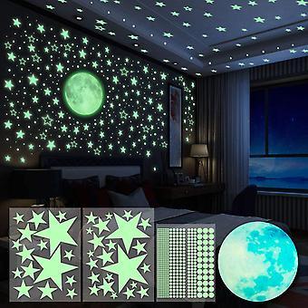 4pcs Wandsticker Leuchtaufkleber Sticker 563 Stück Leuchtsticker Wandtattoo Mond und Sterne