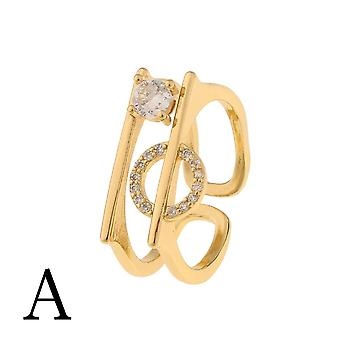 Gold Plated Copper Ring Antler Design Open Heart Ring Ladies Jewelry