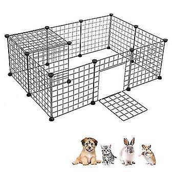بيت الحيوانات الأليفة DIY قابلة للطي الحيوانات الأليفة Playpen الحديد سياج جرو بيت الكلب ممارسة التدريب جرو هريرة الفضاء