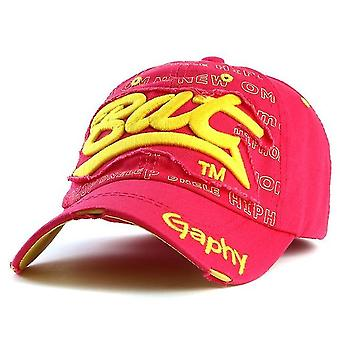 Embroidery Letter Pattern Adjustable Curved Eaves Baseball Cap, Head Circumference: 54-62cm(red