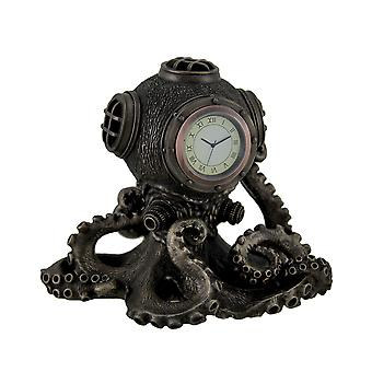 Bronze-Finish Steampunk Octopus Diving Bell Clock Statue