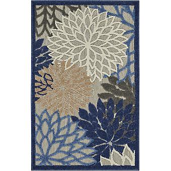 3' x 4' Blue Large Floral Indoor Outdoor Area Rug