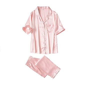 Mimigo Women Pajamas Women's Notch Collar Short Sleeve Sleepwear Two Piece Pajama Set