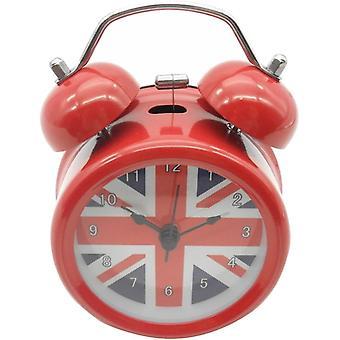 "3"" Quiet Non-ticking Silent Quartz Analog Vintage Bedside Twin Bell Alarm Clock(uk Flag)"