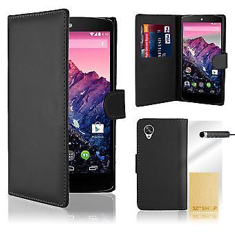 Book wallet PU leather case + stylus for Google Nexus 5 (2013) - Black