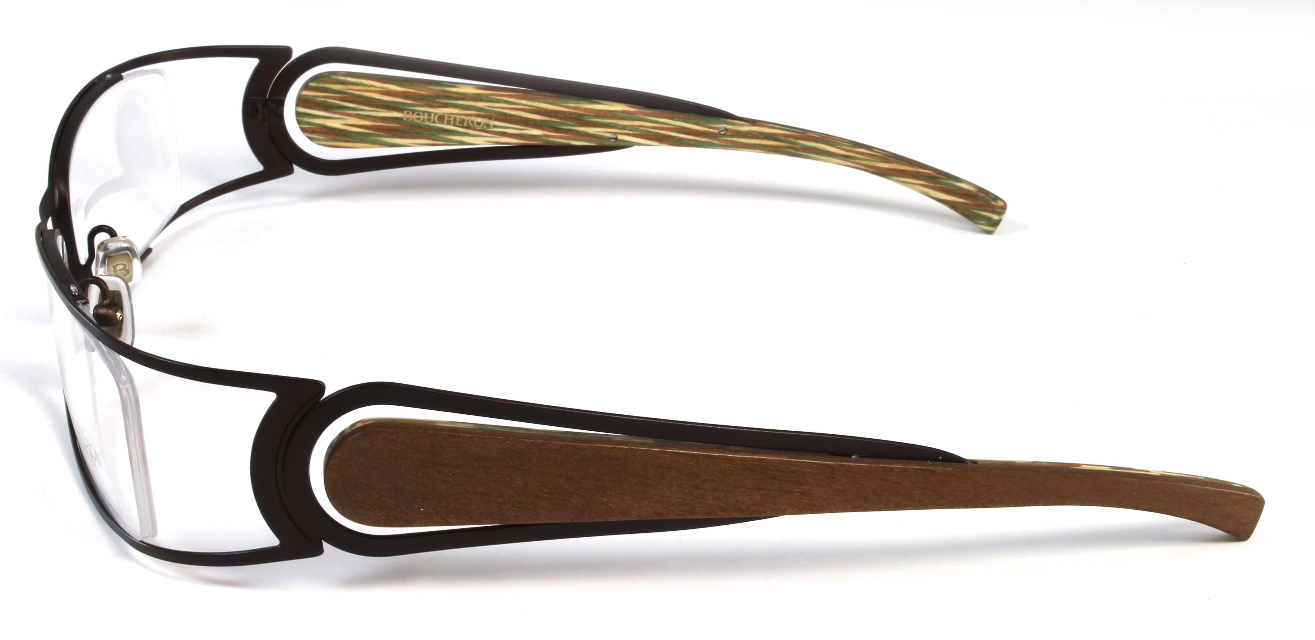 Boucheron Unisex Rectangular Rounded Eyeglasses Silver/Wood