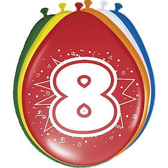 Ballon bunt Luftballons Zahl 8 Geburtstag 8 St. Deko Ballons Party