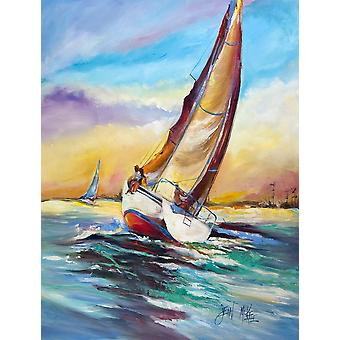 Carolines Treasures  JMK1159GF Horn Island Sailboat Race Flag Garden Size