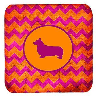 Set van 4 Corgi Pembroke Chevron roze en oranje schuim Coasters