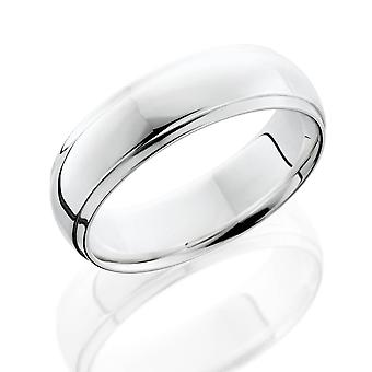 6mm Half Round Edge Mens Wedding Band 14K White Gold
