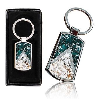 i-Tronixs - Premium Marble Design Chrome Metal Keyring with Free Gift Box (2-Pack) - 0004