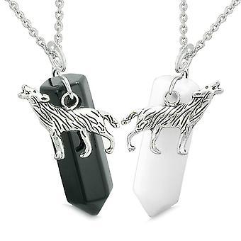 Heulender Wolf Mut Amulette Liebe Paare oder beste Freunde Set Schwarz Achat weißem Quarz Halsketten
