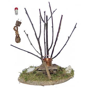 Lighted bonfires with shrub, Shepherd, spare bulb, cable Nativity accessories