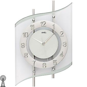 Wall clock radio radio controlled wall clock analog silver modern curved with glass