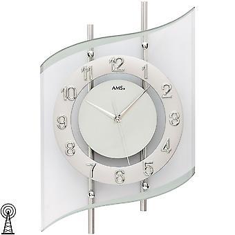 Wall kelloradio radio-ohjattavat wall clock analoginen hopea moderni kaareva lasi