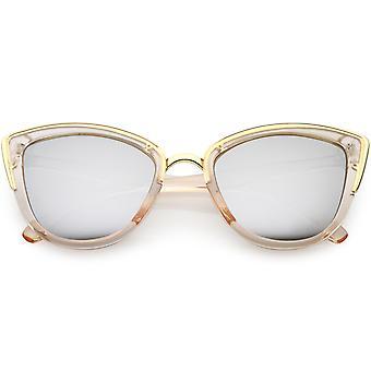 Kobiet Oversize kot oko okulary lustro Metal kolor wykończenia obiektywu 51mm