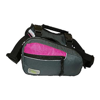 Fresh Pet 2 In 1 Dog Harness Trail Pack Fuchsia / Gray Large